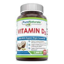 Pure Naturals Vitamin D3 5000 IU 360 Softgels – Organic Coconut Oil Enhance Absorption of Vitamin D3 in The Body* Supports Healthy Immune Function Cardiovacular Health*Support Brain Function& Muscle