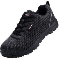 LARNMERN Steel Toe Shoes Men, Work Safety Sneakers Reflective Strip Lightweight Industrial & Construction Shoe