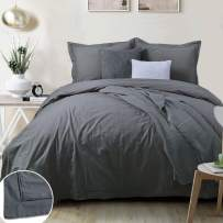 YINFUNG Charcoal Duvet Cover Washed Cotton Queen Hotel Dark Grey Farmhouse Mens 90x90 Crinkle Quilt Cover Flange Border Modern Hemstitch Piping Edge 3pc Plain Gray Solid Comforter Cover Bedding Set