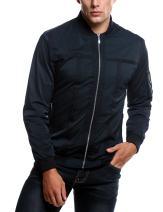 COOFANDY Men's Zip Up Contrast Color Stripe Slim Fit Bomber Jacket Coat