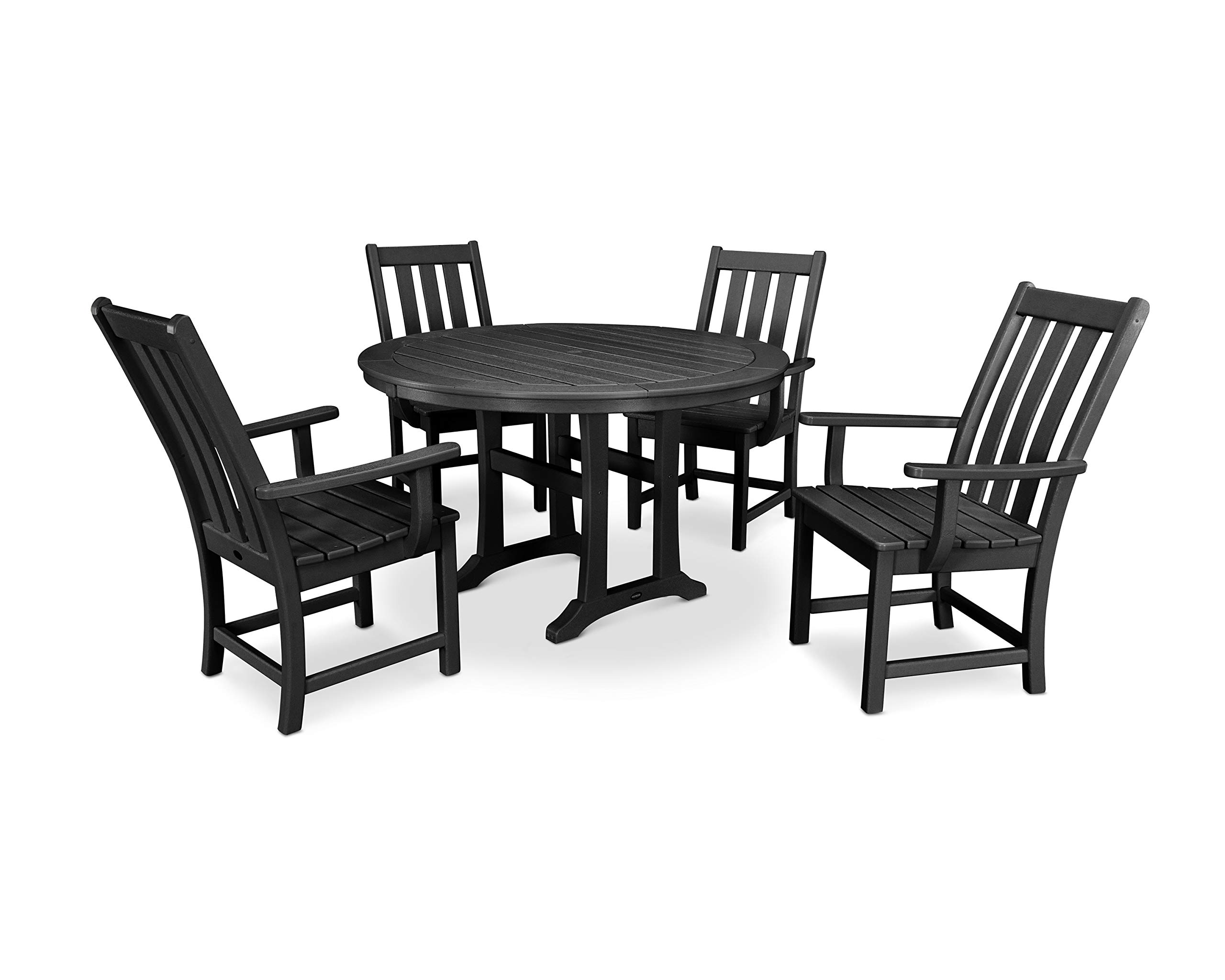 POLYWOOD Vineyard 5-Piece Nautical Trestle Dining Set (Black)