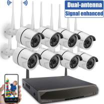 Security Camera System Wireless,8 Channel Home Outdoor Wireless Surveillance Camera System and 8Pcs 1080P WiFi Security Weatherproof IP Camera with Night Vision,Remote View,NO Hard Drive