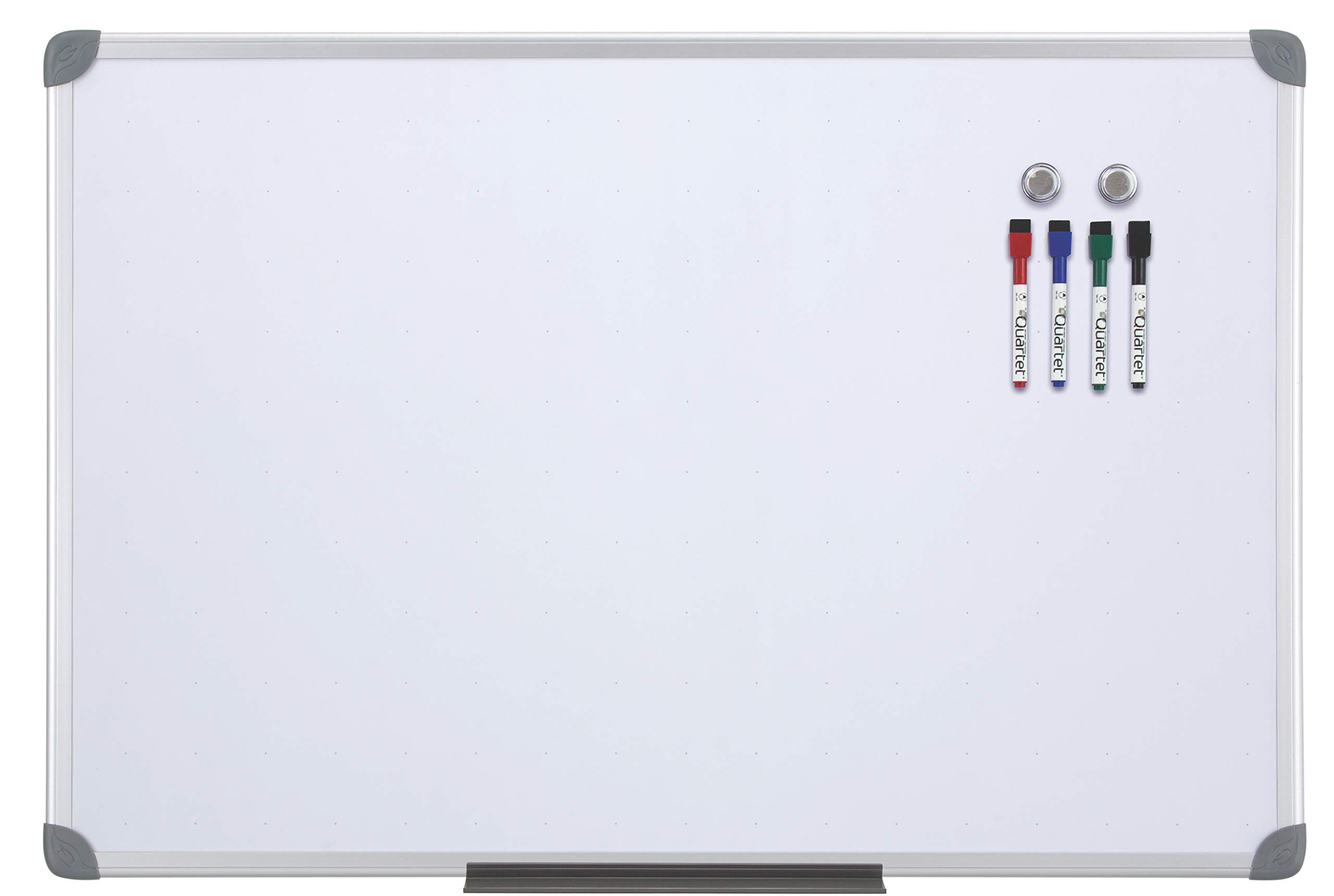 Quartet Magnetic Whiteboard, 2' x 3' White Boards, Dry Erase Board Includes 4 Dry Erase Markers & Marker Tray, Home Office Accessories, Euro Style Aluminum Frame (UKTE2436-ECR)