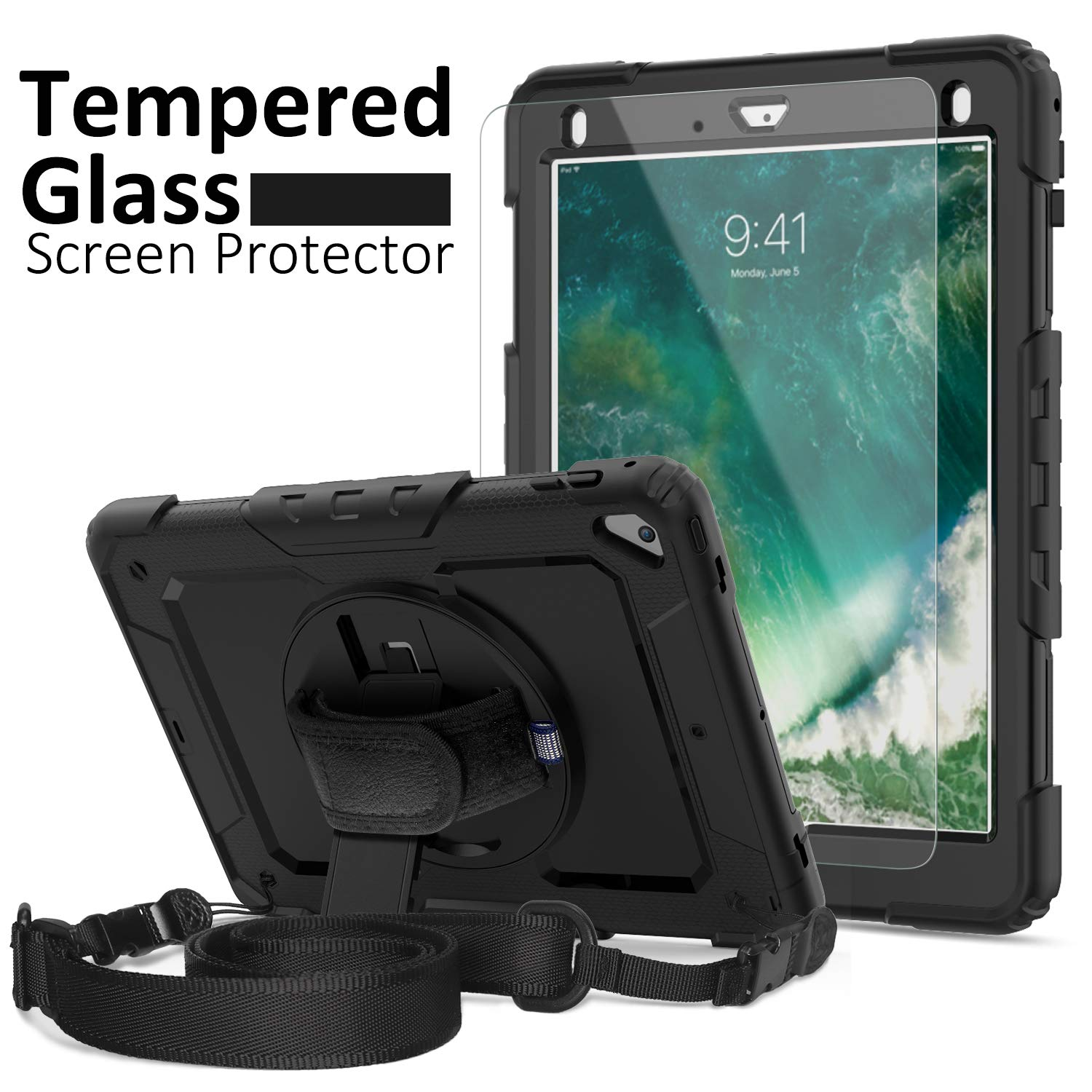 iPad 6th Generation Cases, New iPad 9.7 Case 2017/2018, [Kid Proof] Ambison Full Body Protective Case with Pencil Holder, Tempered Glass Screen Protector, 360° Rotatable Kickstand & Hand Strap (Black)