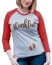 7 ate 9 Apparel Womens Thankful Thanksgiving Pregnancy Announcement Raglan Tee