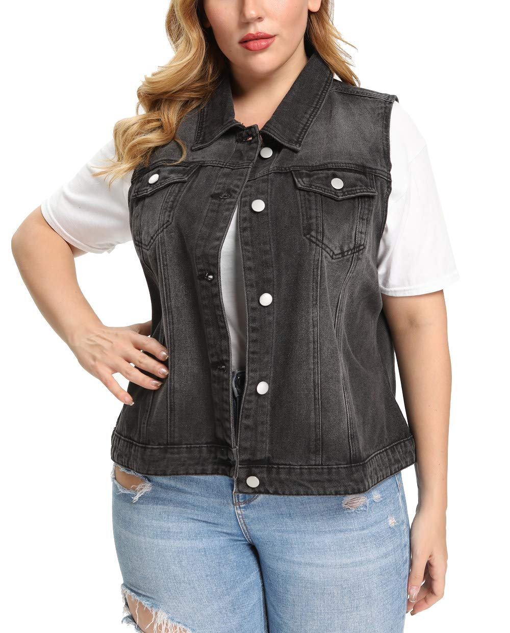 SCOFEEL Womens Denim Vest Button Downs Sleeveless Jacket Plus Size with Pearls