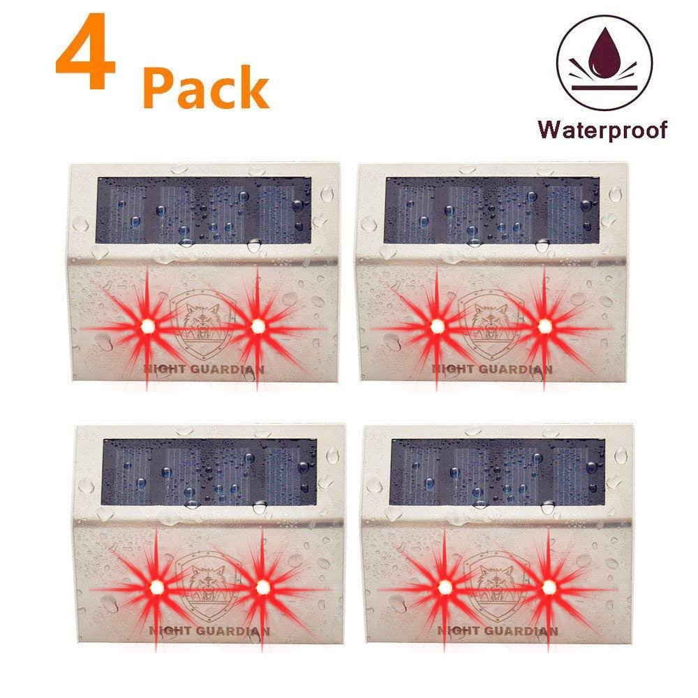 YINGHAO Solar Powered RED LED Predator Deterrent Light/Wild Animals Repellent and Control/Guards Against Nocturnal Wild Animals/Farm Garden Pasture Orchard Corral Chicken Coop Light/ 4 Pack