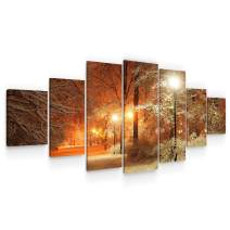 Startonight Large Canvas Wall Art Landscape - Winter in The Park - Huge Framed Modern Set of 7 Panels 40 x 95 Inches