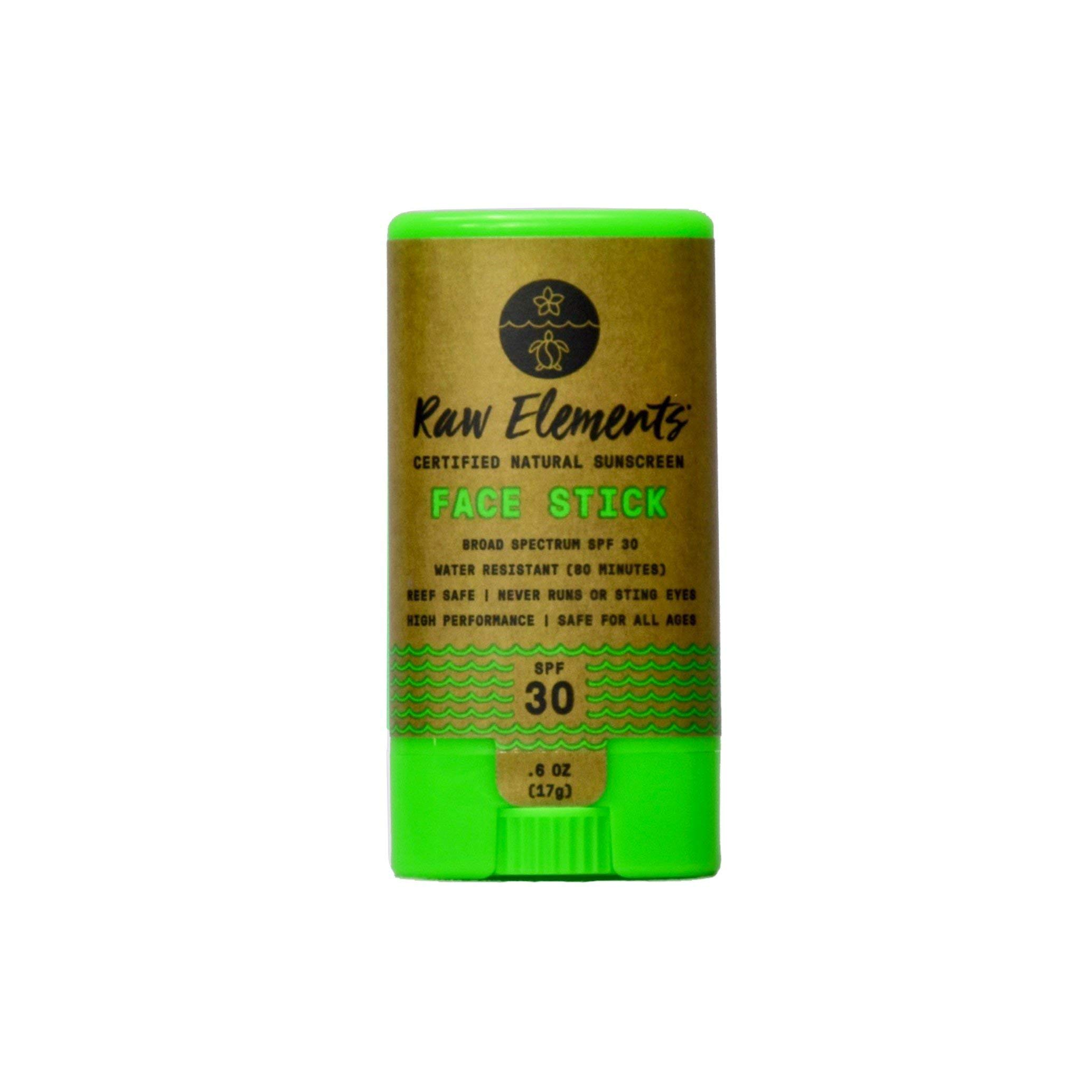 Raw Elements Face Stick Certified Natural Sunscreen | Non-Nano Zinc Oxide, 95% Organic, Very Water Resistant, Reef Safe, Non-GMO, Cruelty Free, SPF 30+, All Ages Safe, Moisturizing, 0.6oz