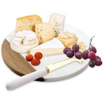 VUDECO White Marble and Acacia Wooden Cheese Board & Knife Set Marble Tray for Meats Breads Charcuterie Round Cutting Board Serving Board Stainless Steel Knife - 10 Inch Marble Slab Pastry Board