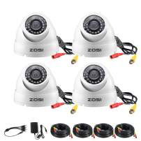 ZOSI 4 Pack 1080p Dome Camera Outdoor Indoor (Hybrid 4-in-1 HD-CVI/TVI/AHD/960H Analog CVBS),2.0MP (1920TVL) Day Night Weatherproof Security CCTV Camera Kit, Wide Angle, Night Vision Up to 65FT(20M)