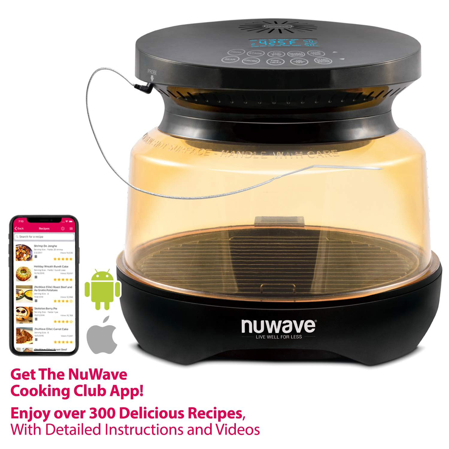 NUWAVE PRIMO Infrared Grill Oven with Integrated Digital Temp Probe for PERFECT Results; Convection Top & Grill Bottom for Surround Cooking; High Heat Resistant PPSU Dome and Enhanced Base Tray Coating; Cook Frozen or Fresh; Broil, Roast, Grill, Bake, Dehydrate & Air Fry