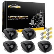 Partsam 5X Smoke Cover Cab Roof Marker Light + Amber T10 LED Light Bulbs 168 194 5-5050-SMD Compatible with Dodge Ram 1500 2500 3500 1994 1995 1996 1997 1998 Stock Roof Cab Marker