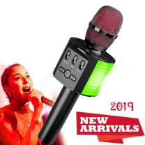 Wireless Bluetooth Karaoke Microphone, 2019 Update Louder Volume Karaoke Player,Portable Handheld Double Speaker Mic Machine LED Lights Music Playing Singing and Recording for Android/iPhone/PC -Black