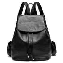 Kenoor Women Soft Leather Backpack School Bag Drawstring Casual Ladies Daypack (Black)