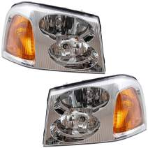 Brock Replacement Driver and Passenger Set Headlights Compatible with 2002-2009 Envoy 15866071 15866070