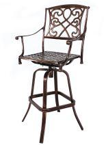 HOMEFUN Outdoor Swivel Bar Stools, Bar Height Chairs, Cast Aluminum Bistro Pub Patio Furniture (Antique Bronze)