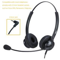 2.5mm Headset with Microphone for Office Phones Call Center Telephone Headset Noise Cancelling for Home Cordless Phones Panasonic KX-TGF380M Cisco Linksys SPA 303G Grandstream Uniden Dect Phones etc