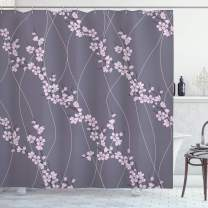 """Ambesonne Floral Shower Curtain, Spring Japanese Sakura Branches Full Blossom Modern Oriental Composition, Cloth Fabric Bathroom Decor Set with Hooks, 70"""" Long, Pink"""