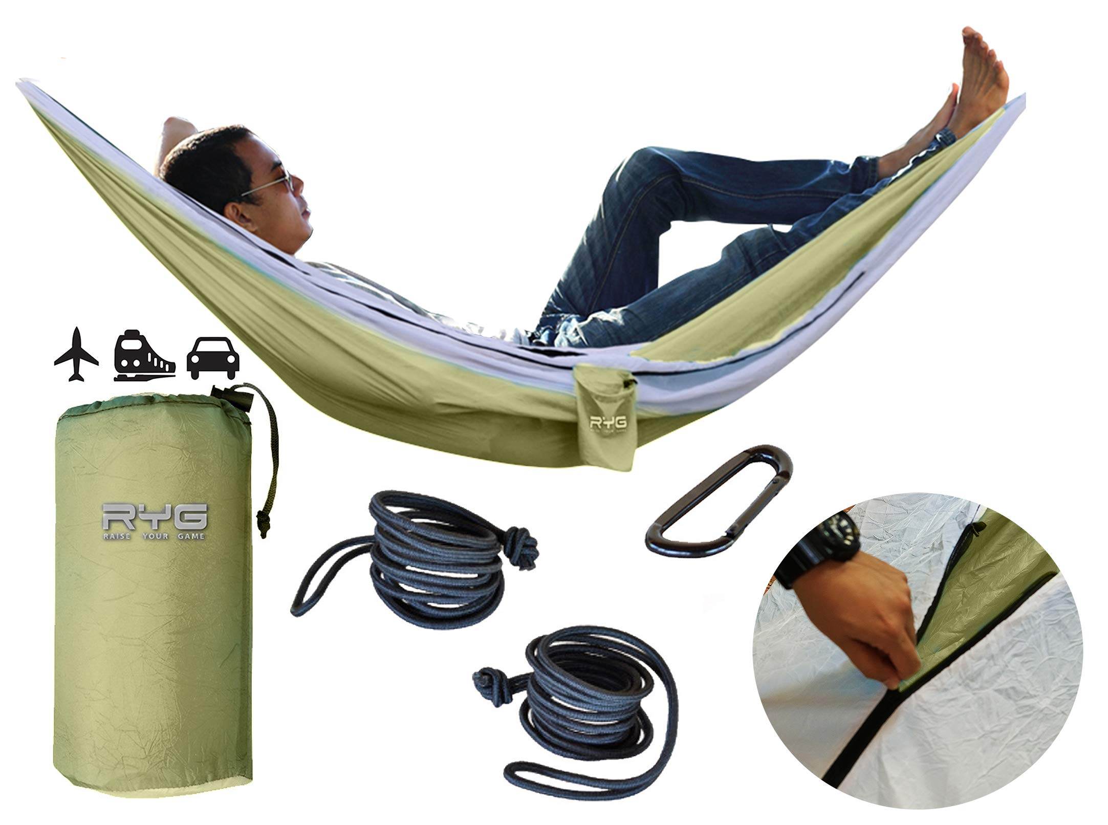 Raise Your Game RYG Portable Hammock, Heavy Duty Lightweight Parachute Quality Fabric, Indoor Outdoor Weatherproof Single & Double Hammocks, Adjustable Camping Swing for Hiking Travel (Olive Green)