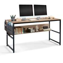 Linsy Home Computer Desk with Bookshelf and Storage Bag, 55 Inch Study Writing PC Laptop Table, Home Office Desk, Modern Simple Design, Wood