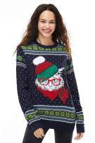 Unisex Women's Christmas Ugly Sweater Funny Knit Cat Pullover Santa Festive Fair Isle Reindeer, Large