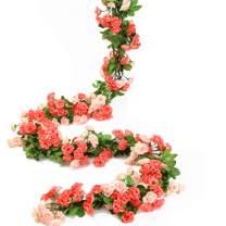 HEJIAYI Artificial Rose Flower Garland for Decoration Fake Rose Flower Vines for Wedding Fake Silk Flower Garland for Weddings, Home, Office, PartyPack of 4 (Rose Red+Pink)