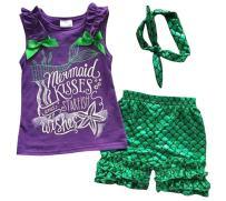 Kids Girls Summer Ruffle Shirts Sequin Mermaid Short Pant Outfits with Headband