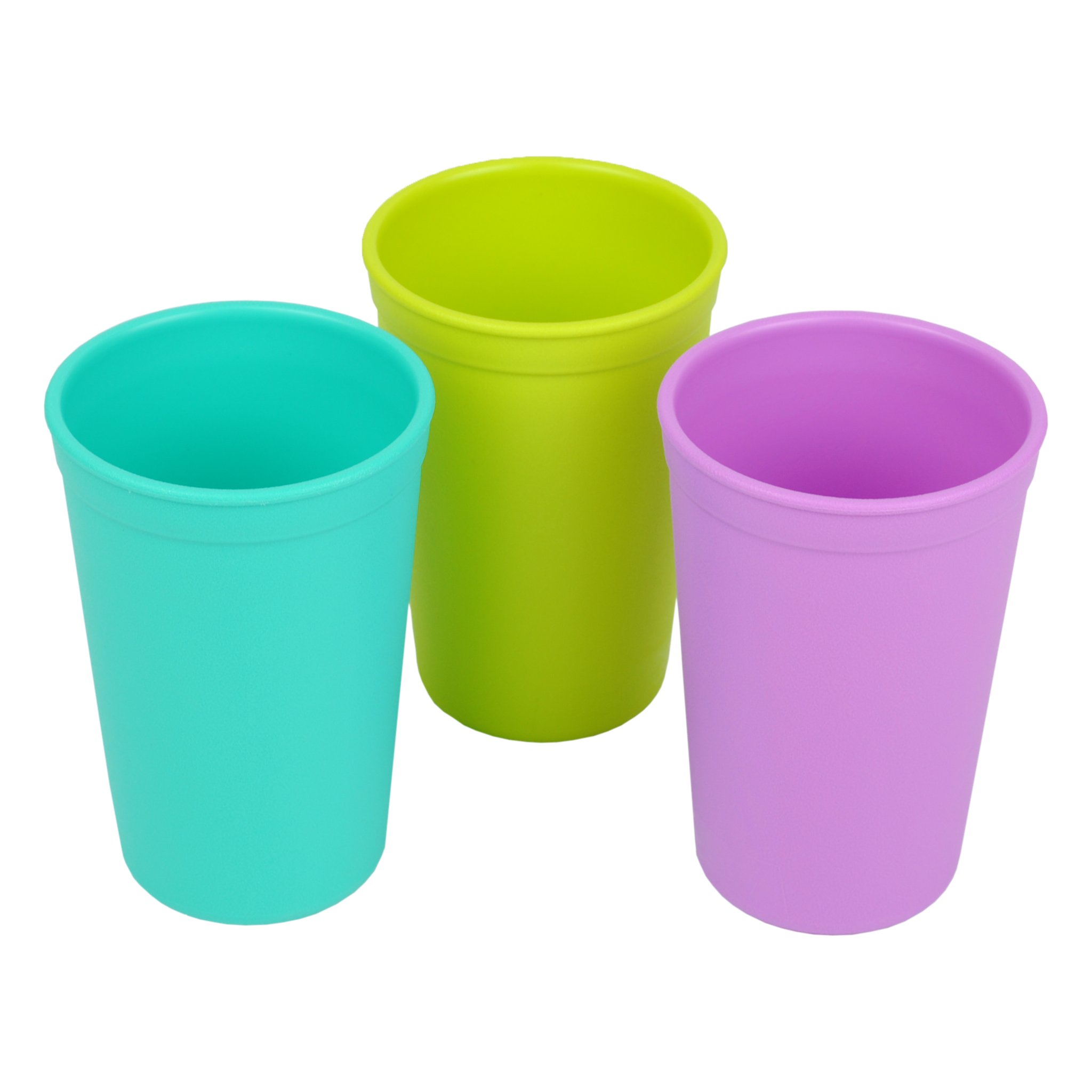 Re-Play 3pk - 9oz. Drinking Cups | Made in USA from Eco Friendly Heavyweight Recycled Milk Jugs - Virtually Indestructible | for All Ages | Aqua, Lime Green, Purple | Mermaid
