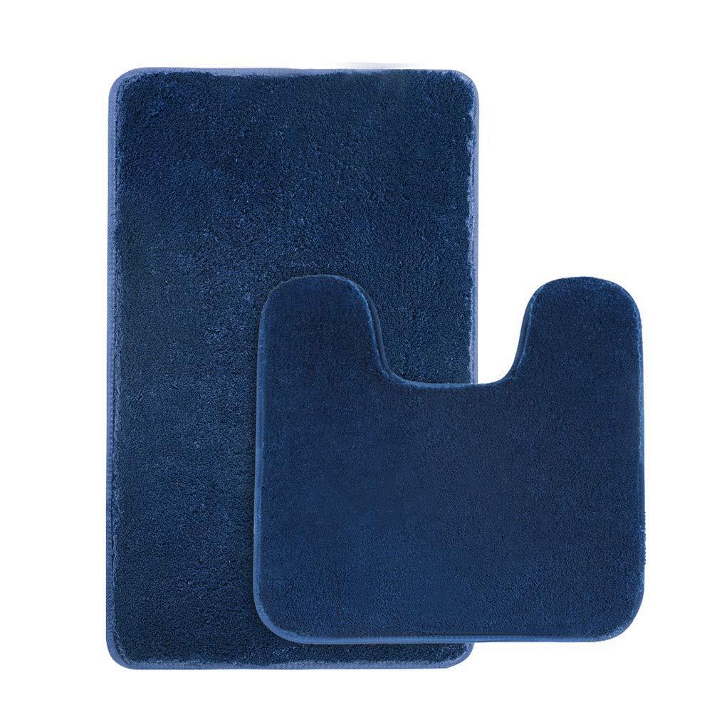 Seavish 2 Piece Shaggy Bathroom Rug Set, Non Slip Microfiber Soft Bath Mats and Contour Bath Rug Combo (2-Piece Set, Navy Blue)