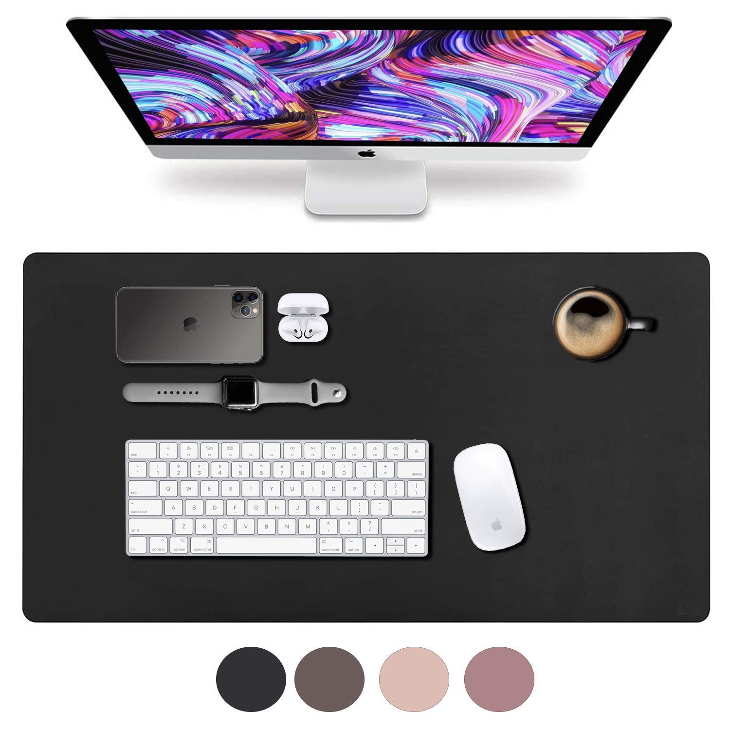"""Leather Desk Pad 31.5"""" x 15.7"""", Vine Creations Office Desk Mat Waterproof Black, Smooth Mouse Pad and Writing Surface, Top of Desks Protector, Dual-Sided Pu Leather Blotter Accessories Office Decor"""