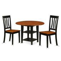 3 Piece Sudbury Set With One Round Dinette Table And Two Dinette Chairs With Wood Seat In A Beautiful Black and Cherry White Finish.