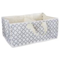 DII All-Purpose Storage Tote with Two Compartments to Divide Easy to Clean Interior, Use for Beach Trips, Laundry, Reusable Grocery Bag, as Trunk Organizer, or More (Lattice Gray) – Small