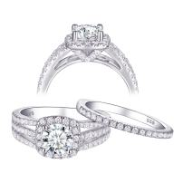 Newshe Engagement Rings Wedding Sets for Women 925 Sterling Silver 2ct Round White AAA Cz Size 5-10
