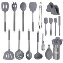 CRTHL Kitchen Utensils Set - 18 PCS Non-stick Heat Resistant Cookware, BPA-Free Silicone Stainless Steel Handle Silicone Cooking Utensils Set (Gray)
