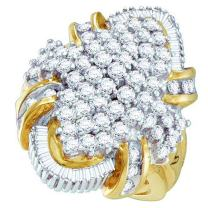 Dazzlingrock Collection 2.00 Carat (ctw) 10K Round & Baguette Cut White Diamond Ladies Cluster Right Hand Ring 2 CT, Yellow Gold