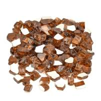 """Mr. Fireglass 1/2"""" Reflective Fire Glass with Fireplace and Fire Pit, 10 lb, Copper"""