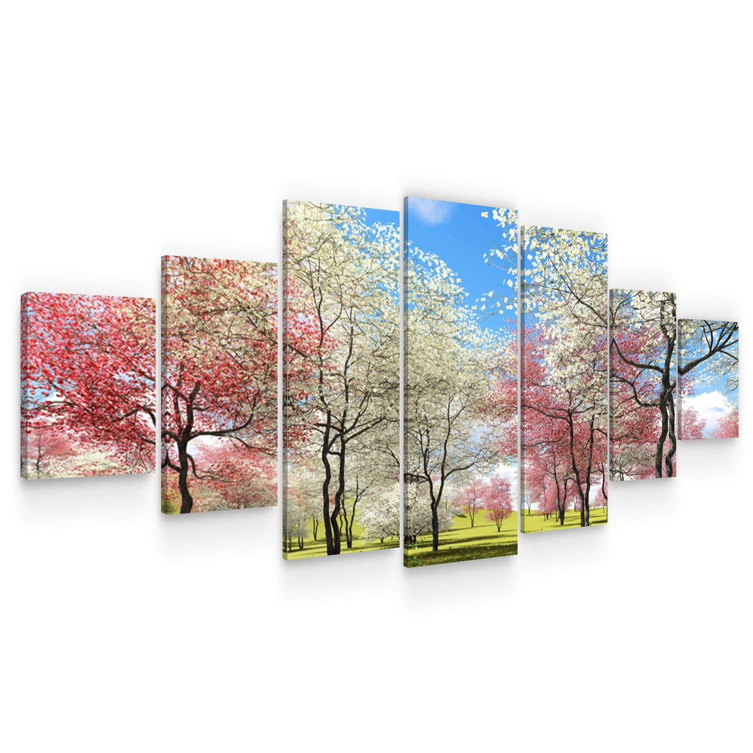 STARTONIGHT Large Canvas Wall Art Nature - Trees Bloom in The Spring, Pink and White Flowers - Huge Framed Modern Set of 7 Panels 40 x 95 Inches