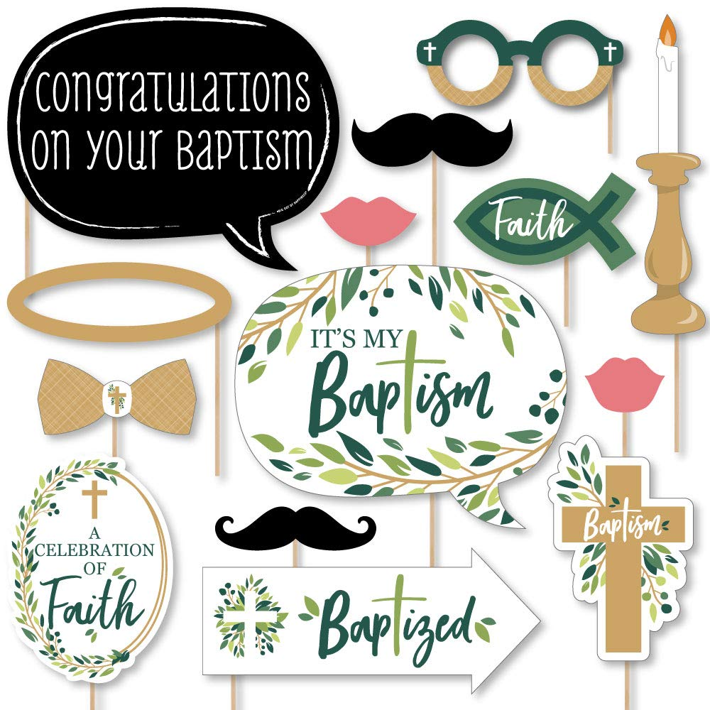 Big Dot of Happiness Baptism Elegant Cross - Religious Party Photo Booth Props Kit - 20 Count