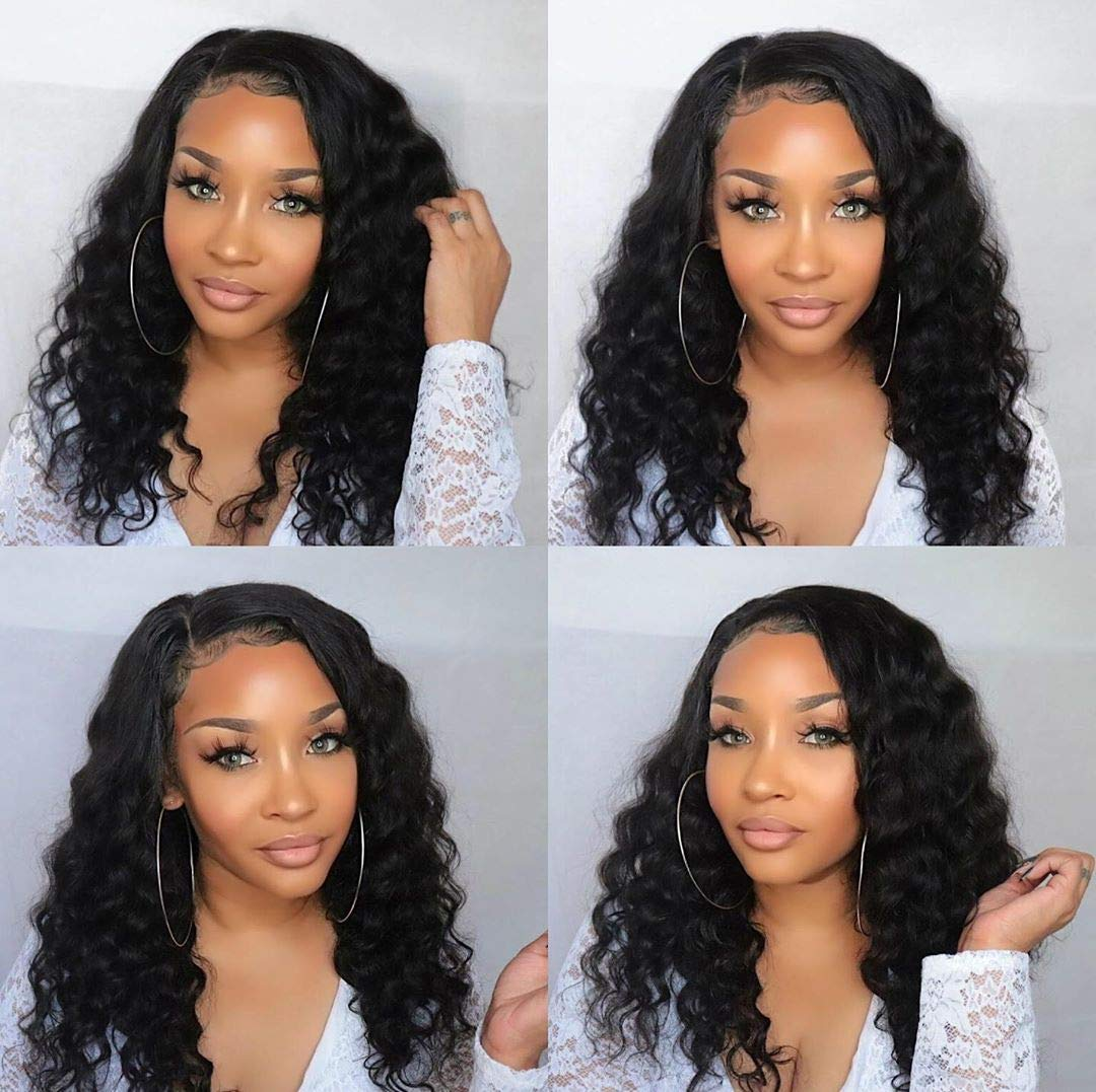 BLY Lace Front Wigs Human Hair Wigs for Black Women 22 Inch Brazilian Loose Deep Wave Hair Wet and Wavy Human Hair 13x4 Full Lace Wigs with Baby Hair Pre Plucked
