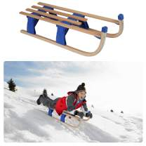 LONABR Foldable/Removable Snow Sled Sleigh Portable Wooden Sled Durable Sledding for Kids with A Pulling Rope and Solid Wood Seat Holds Up to 220LBS