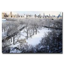 Snow Covered Park by Ariane Moshayedi, 22x32-Inch Canvas Wall Art
