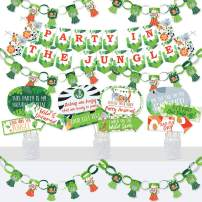 Big Dot of Happiness Jungle Party Animals - Banner and Photo Booth Decorations - Safari Zoo Animal Birthday Party or Baby Shower Supplies Kit - Doterrific Bundle