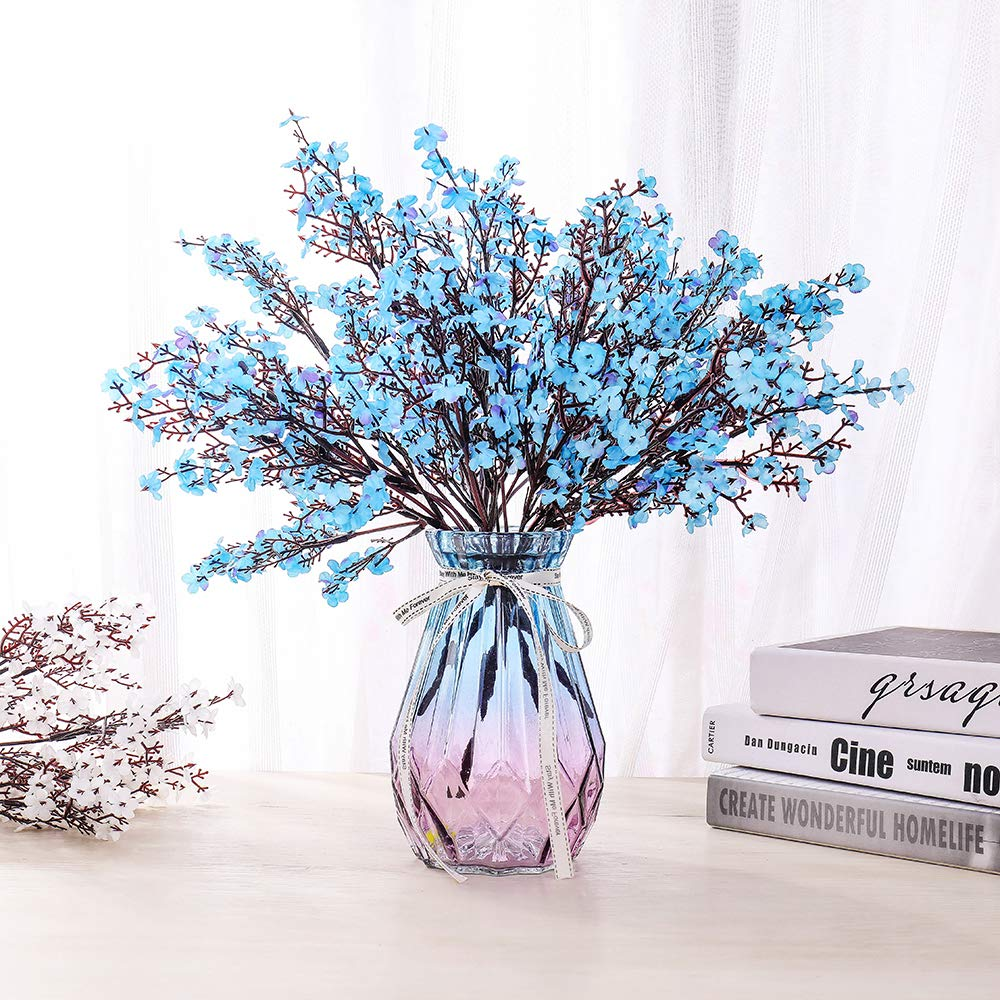 LUSHIDI 6PCS Artificial Baby Breath Flowers Fake Silk Real Touch DIY Floral Bouquets Decor Wedding Party Decoration Arrangements(Blue)