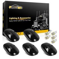 Partsam 5X Smoke Lens Cab Marker Light 264145BK Assembly+ 5X White T10 LED Bulbs Compatible with Dodge Ram 2500 3500 1999 2000 2001 2002