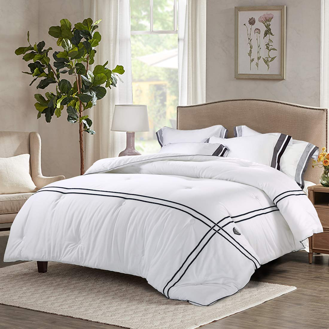 INGALIK All-Season Cotton 100% Bed Comforter Striped Cooling Down Alternative Quilted Duvet Insert - Reversible - Hypoallergenic - Machine Washable (Glory White, Twin/Twin XL 64 x 88 inches)