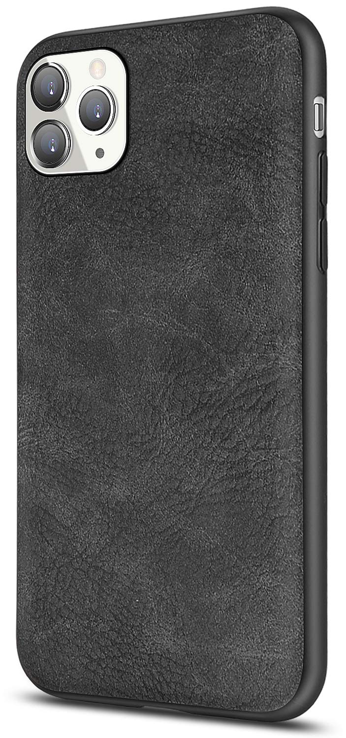 Salawat for iPhone 11 Pro Case, Slim PU Leather Vintage Shockproof Phone Case Cover Lightweight Premium Soft TPU Bumper Hard PC Hybrid Protective Case for iPhone 11 Pro 5.8 Inch 2019 (Black)