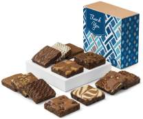 Fairytale Brownies Thank You Dozen Gourmet Chocolate Food Gift Basket - 3 Inch Square Full-Size Brownies - 12 Pieces - Item CY112