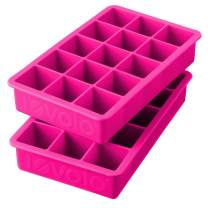 Tovolo Perfect Ice Mold Freezer Tray of 1.25-Inch Cubes for Whiskey, Bourbon, Spirits & Liquor, BPA-Free Silicone, Fade Resistant, Set of 2, Fuchsia