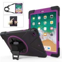 iPad 6th Generation Cases,iPad 9.7 Case TSQ Heavy Duty Shockproof Durable Rugged Protective iPad 5th Generation Case with Handle Hand Strap/Stand/Shoulder Strap for A1893/A1954/A1822/A1823,Deep Purple